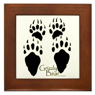 grizzly bear tracks design framed tile $ 14 98