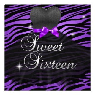 Sweet Sixteen Sweet 16 Purple Black Zebra Dress Custom Invites