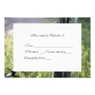 , Barbed Wire Rustic rsvp with envelope Invitations