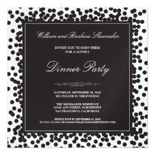 Orange Confetti Dinner Party Invitation