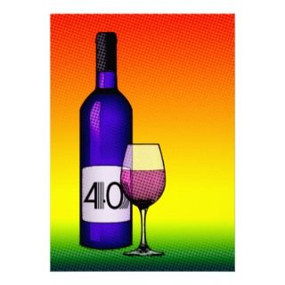 40th birthday or anniversary : wine bottle & glass custom photo card