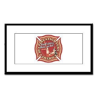 Patriotic Fire Fighter Pinup Girl Small Framed Pri