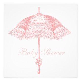 adorable baby umbrella baby shower invitation