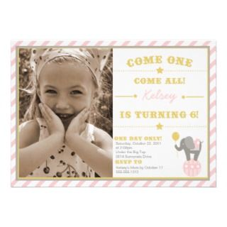 Vintage Circus Elephant   Birthday Thank You Greeting Cards