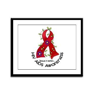 Flower Ribbon AIDS Shirts, Stickers, & Merchandise  Awareness Gift