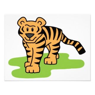 Cartoon Clip Art Bengal Tiger Big Cat with Stripes Personalized