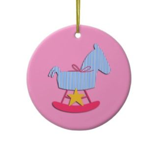 Pink Rocking Horse Baby Ornament