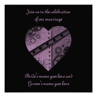 Purple steampunk gears heart wedding 5.5 x 5.5 custom announcement