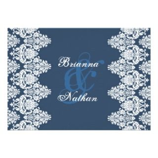 French Blue and White Damask Wedding Invitation