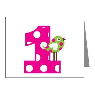 Polka Dot Bird 1st Birthday Note Cards (Pk of 20) for