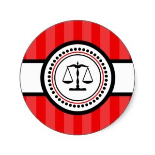 Scales Of Justice Stripes Label (Red) Round Sticker