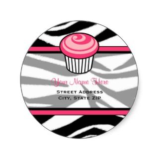 Pink Cupcake Address Label   Black Zebra Print Sticker