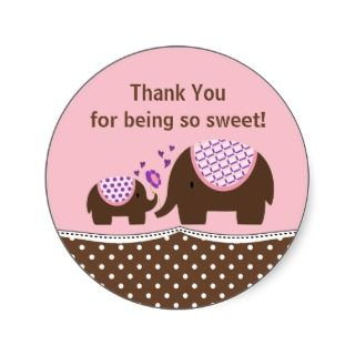Pink & Brown Elephant Thank You Sticker