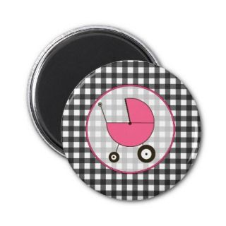 Baby Magnet   Gray Gingham & Pink Baby Carriage