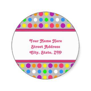 Bright Little Dots Address Labels Round Sticker