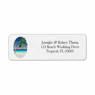 Palm Tree Weddings Invite Address Label
