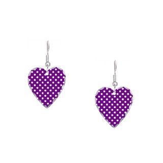 Cool Gifts  Cool Jewelry  Purple and White Polka Dot Earring Heart