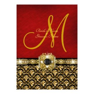 Damask black red gold elegant wedding personalized announcement