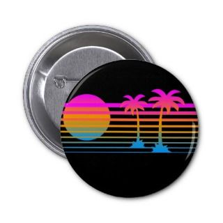 COREY TIGER 80s RETRO PALM TREES TROPICAL SUNSET Pins