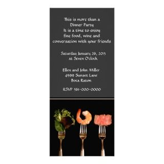 Modern Food on Forks Dinner Party Invitation