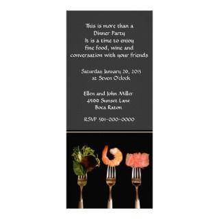 Modern Food on Forks Dinner Party Invitation