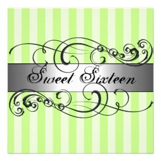 Green & Silver stripe Sweet 16 Birthday Invitation