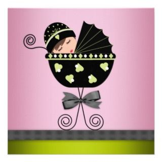 Elegan Pink Green Baby Girl Shower Personalized Invies