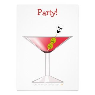 Funny Bloody Martini with Skull Halloween Custom Invites