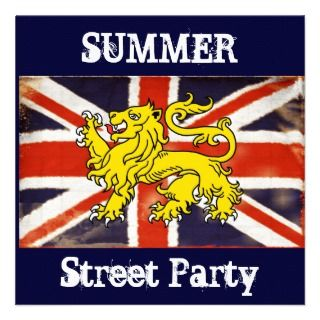 Vintage Union Jack Summer Street Party Invitation