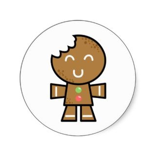 Funny Gingerbread Man Cartoon Christmas Stickers, Funny Gingerbread