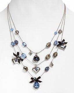 Betsey Johnson Blue Crystal Necklace, 16 19
