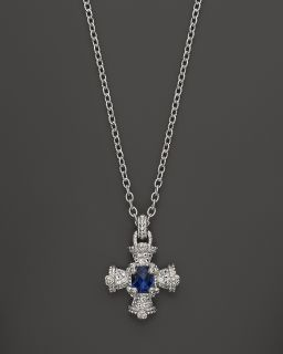 Pave Matlese Cross Pendant Necklace in Lab Created Blue Corundum, 17