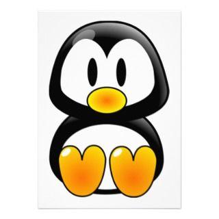 baby penguin tux custom invitations