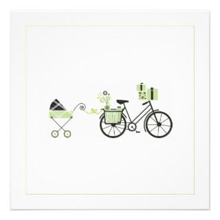 Baby Shower Invitation   Bicycle and Baby Carriage
