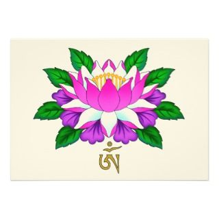 Lotus Flower with Tibet Om (Aum) Symbol Invites