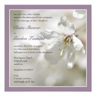 Purple Cherry Blossom Wedding Invitiation Invites