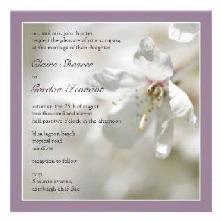 Purple Cherry Blossom Wedding Invitiation Invites