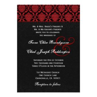 Red White Black Damask Wedding E581 Announcement