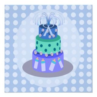 Its A Boy Blue Cake Baby Shower Invitations