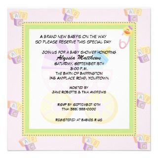 Building Blocks Baby Shower Invitiations (Blue) Announcement