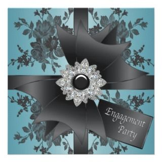 Teal Blue Rose Black Engagement Party Invitation