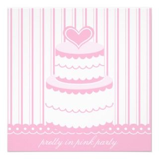 Pretty in Pink Cake Birthday Party Invitation