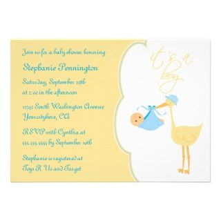 Cute its a boy blue stork baby shower invitation
