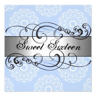 Floral Blue & Silver Sweet 16 Birthday Invitation