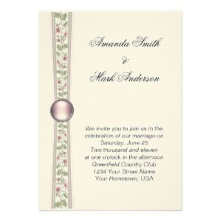 Pink Green and Cream Wedding Invitation