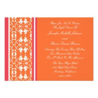 Tangerine Raspberry Orange Wedding Invitations