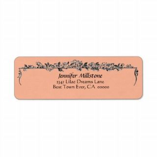 Peach & Black Vintage Flower Border Address Label