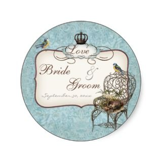 Birds Nest in Chair, Wedding Invitation Sticker