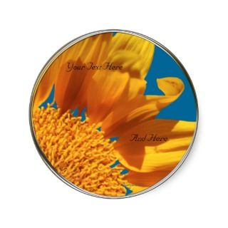 Orange Flower Fall Gerbera Custom Envelope Seals Sticker