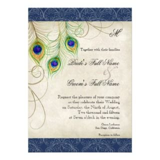 Peacock Feathers Navy Blue Wedding Invitation
